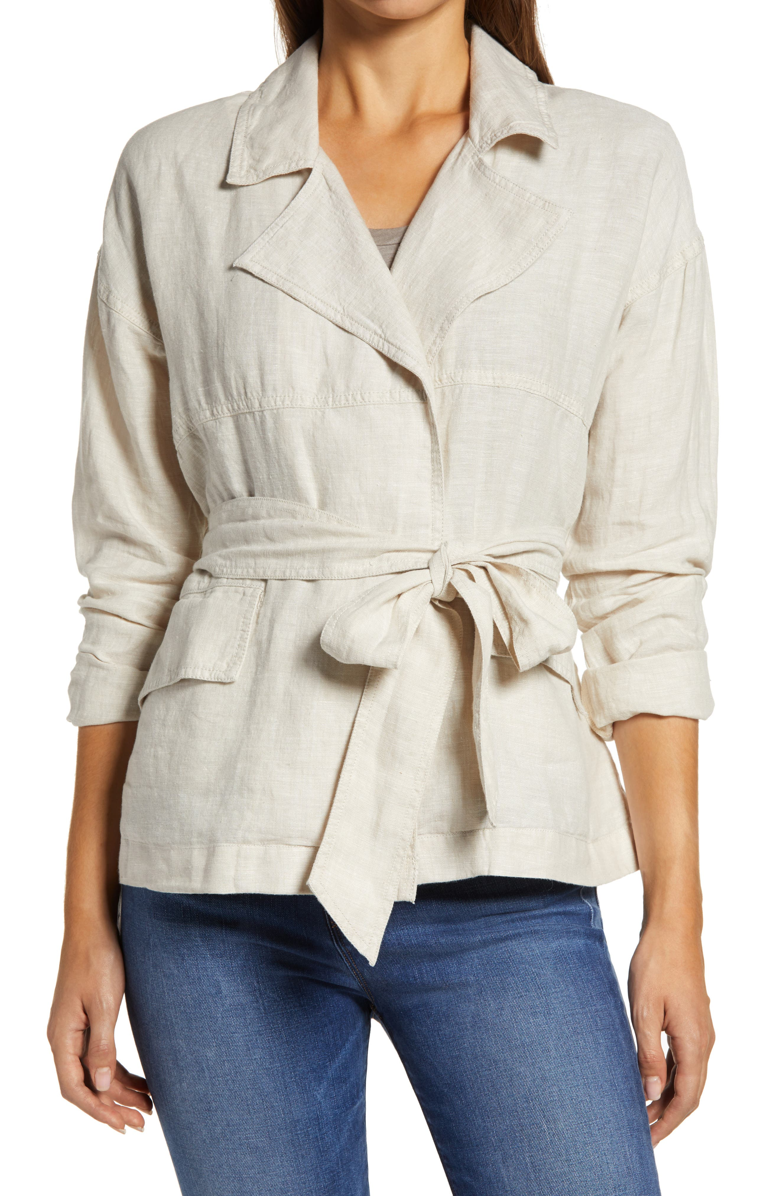 1930s Style Clothing and Fashion Womens Caslon Belted Linen Jacket $41.40 AT vintagedancer.com