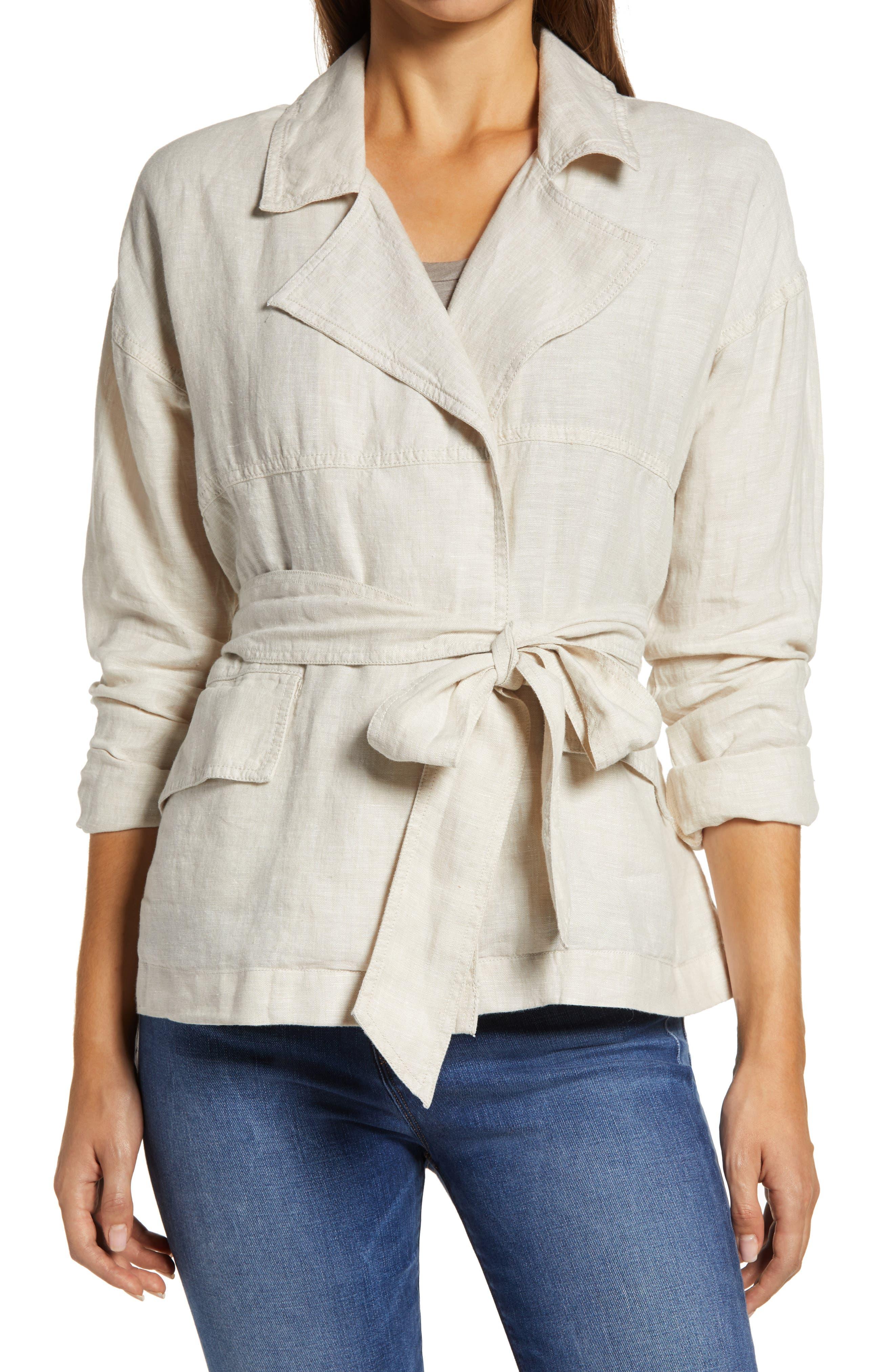1920s Coats, Furs, Jackets and Capes History Womens Caslon Belted Linen Jacket $24.97 AT vintagedancer.com