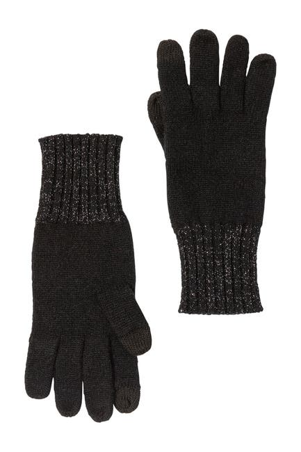 Image of AMICALE Cashmere Knit Gloves with Rib Lurex Cuff