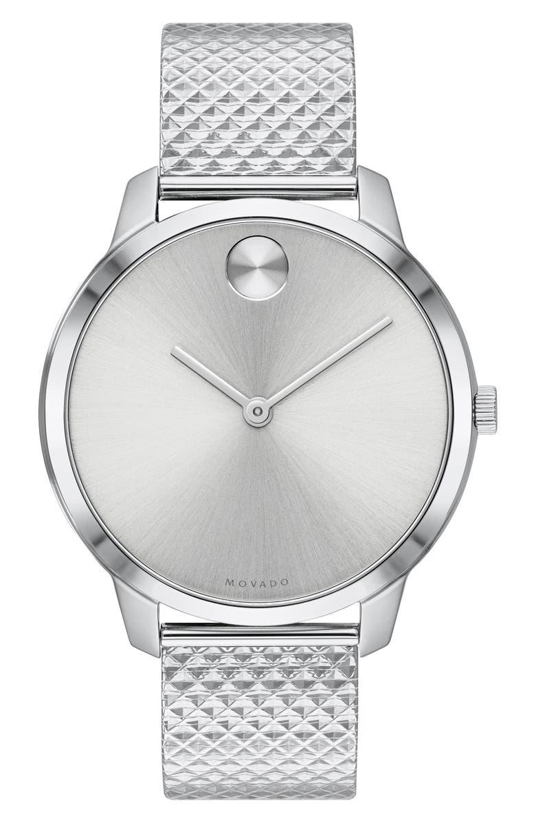 MOVADO Bold Mesh Strap Watch, 42mm, Main, color, SILVER