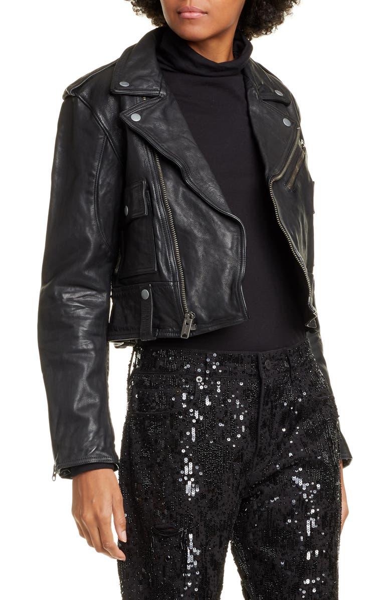 POLO RALPH LAUREN Leather Moto Jacket, Main, color, POLO BLACK