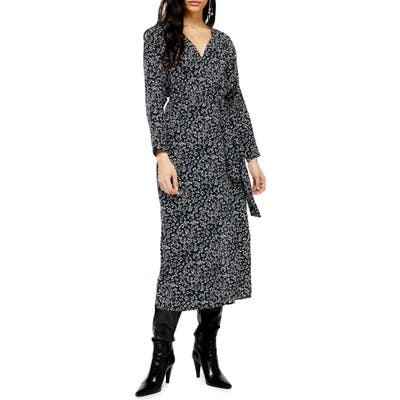 Topshop Floral Print Long Sleeve Midi Dress, US (fits like 2-4) - Black