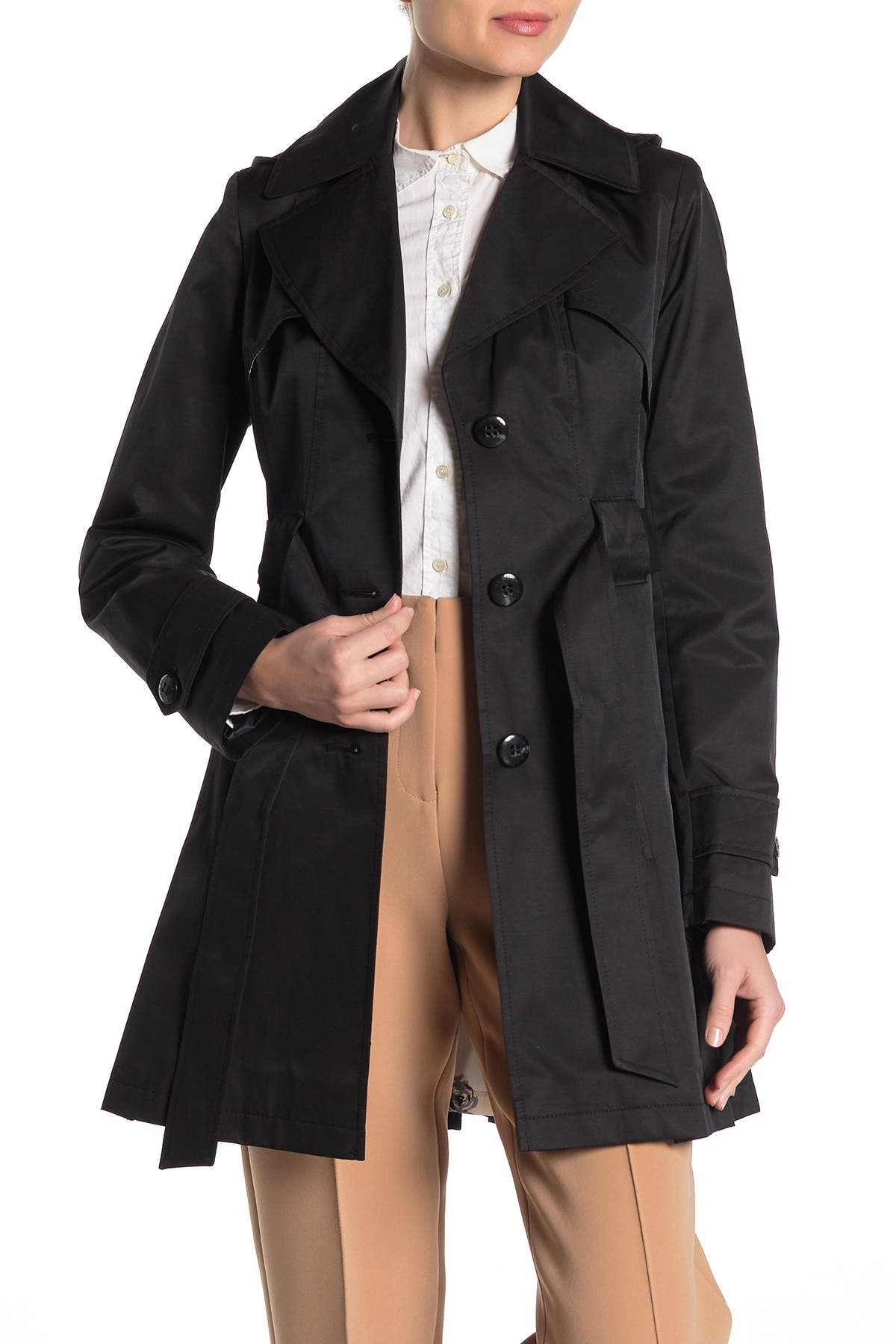 Image of Via Spiga Pleated Hooded Trench Coat