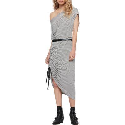 Allsaints Brea Stripe Asymmetrical Dress, Blue