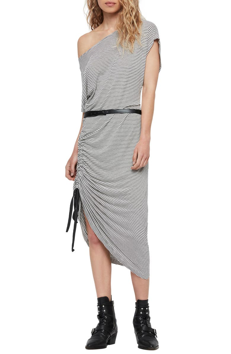 ALLSAINTS Brea Stripe Asymmetrical Dress, Main, color, CHALK/ INK BLUE