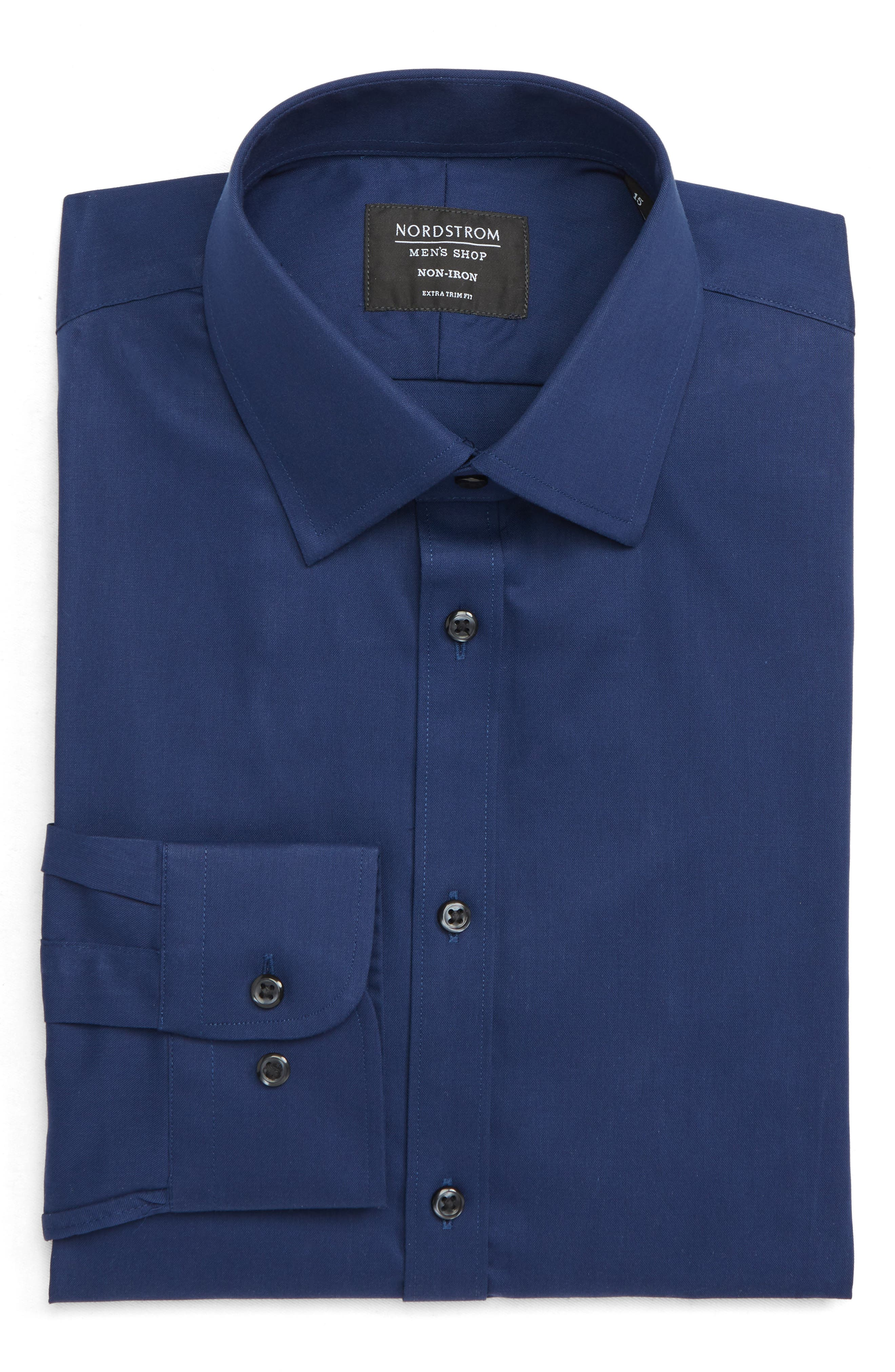 ,                             Extra Trim Fit Non-Iron Solid Dress Shirt,                             Alternate thumbnail 17, color,                             410