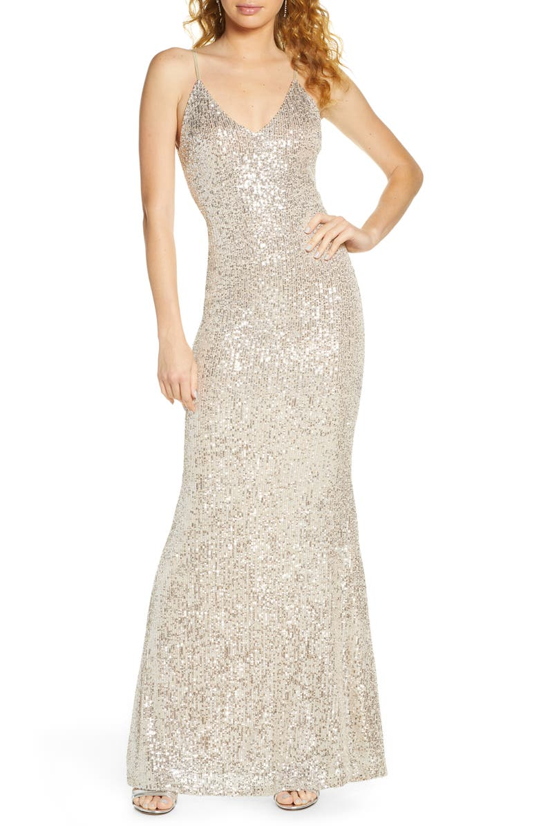 LULUS Moonlight Sequin Trumpet Gown, Main, color, SILVER