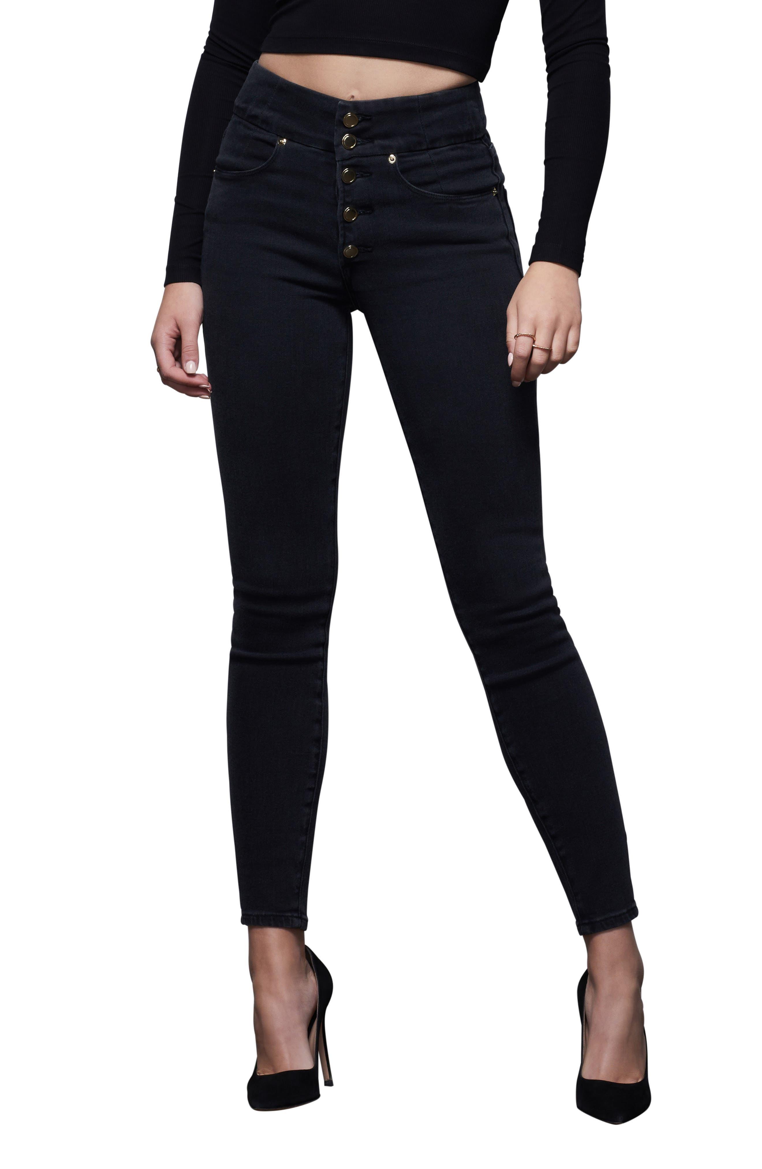 Plus Women's Good American Good Waist High Waist Button Fly Skinny Jeans