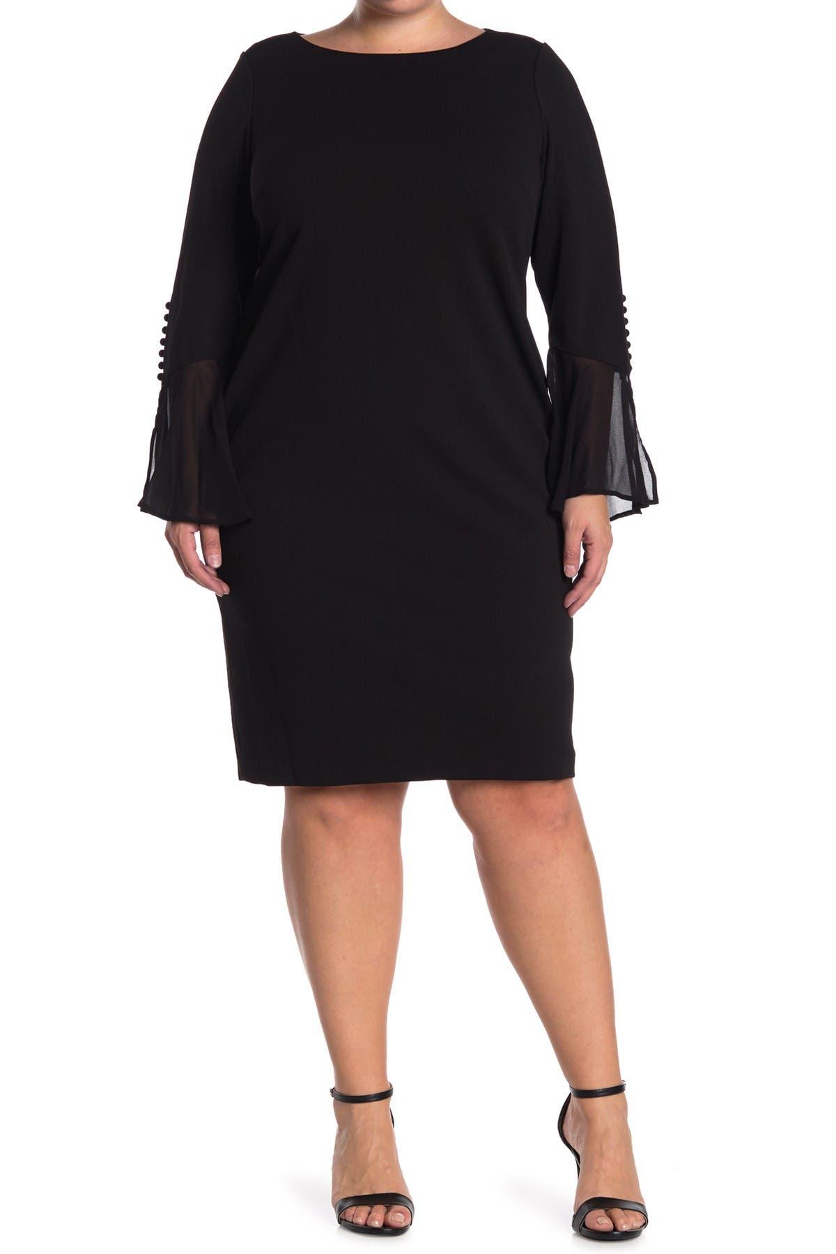 Image of Calvin Klein Button Chiffon Bell Sleeve Sheath Dress