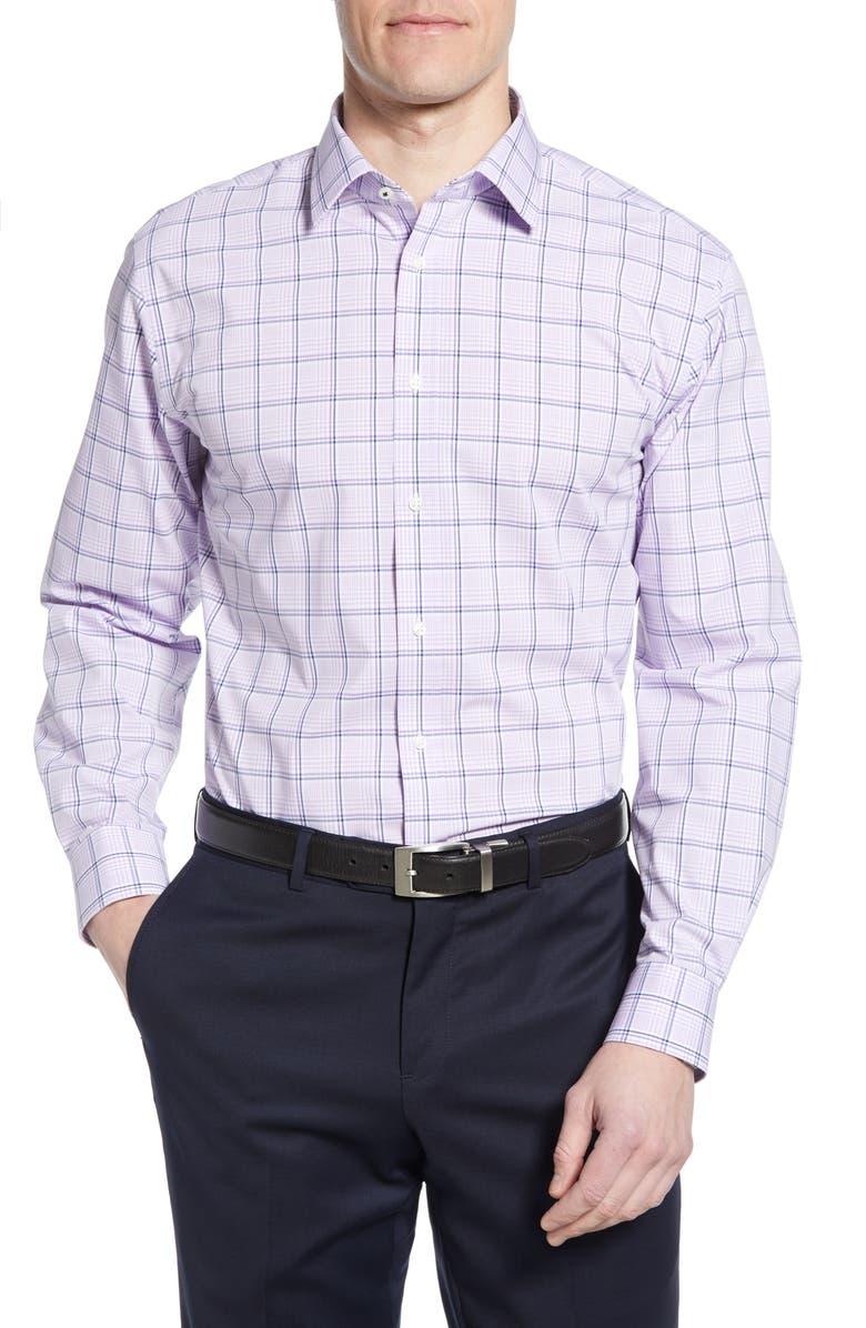 NORDSTROM MEN'S SHOP Tech-Smart Traditional Fit Stretch Windowpane Dress Shirt, Main, color, PURPLE BETTA TONAL PLAID