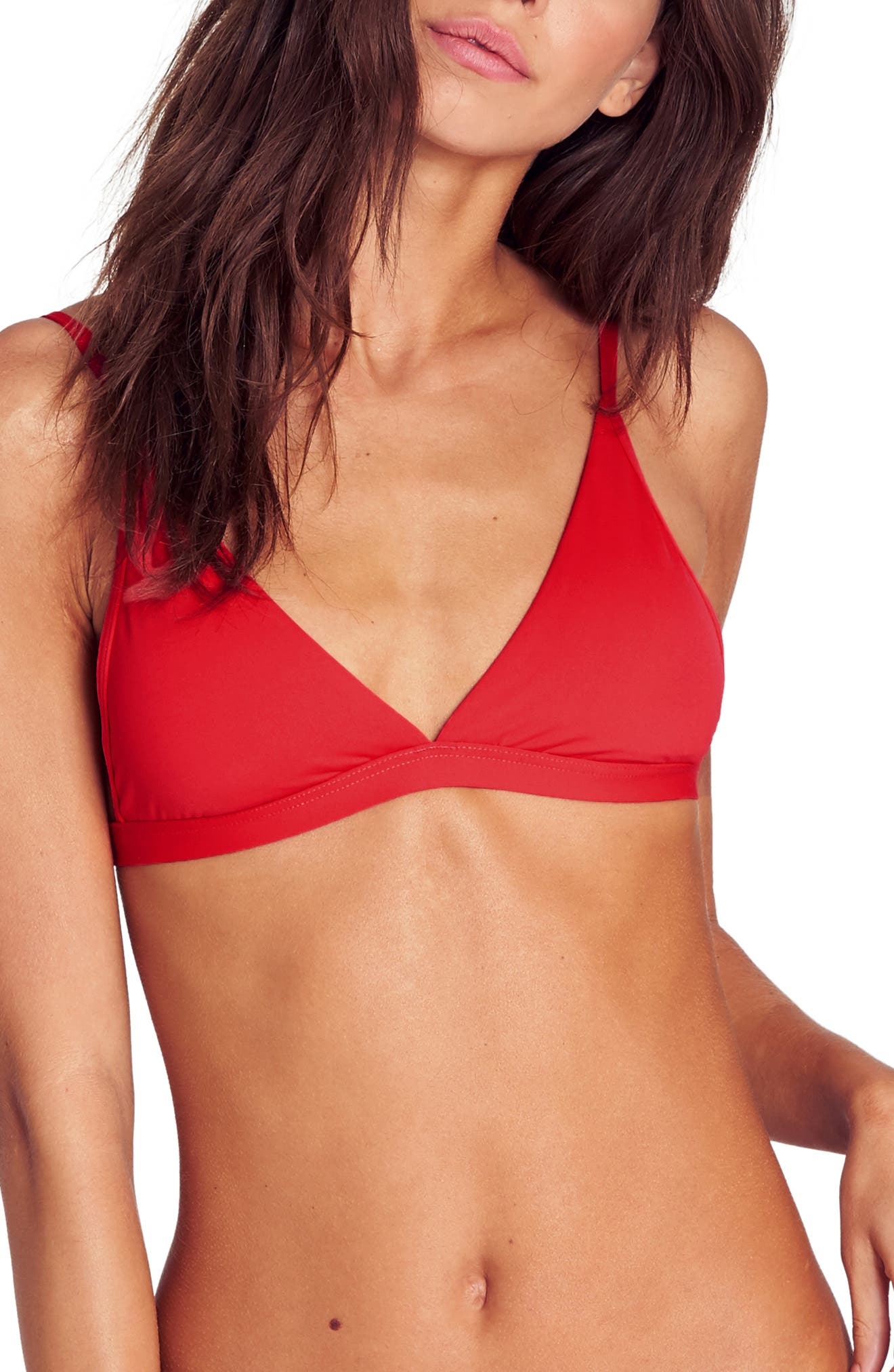 Billabong Sol Searcher Triangle Bikini Top, Size - Red