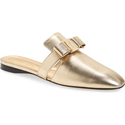 Salvatore Ferragamo Briza Bow Loafer Mule C - Metallic