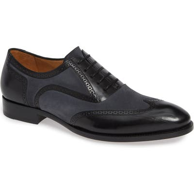 Mezlan Cantone Wing Tip Lace-Up Oxford, Black