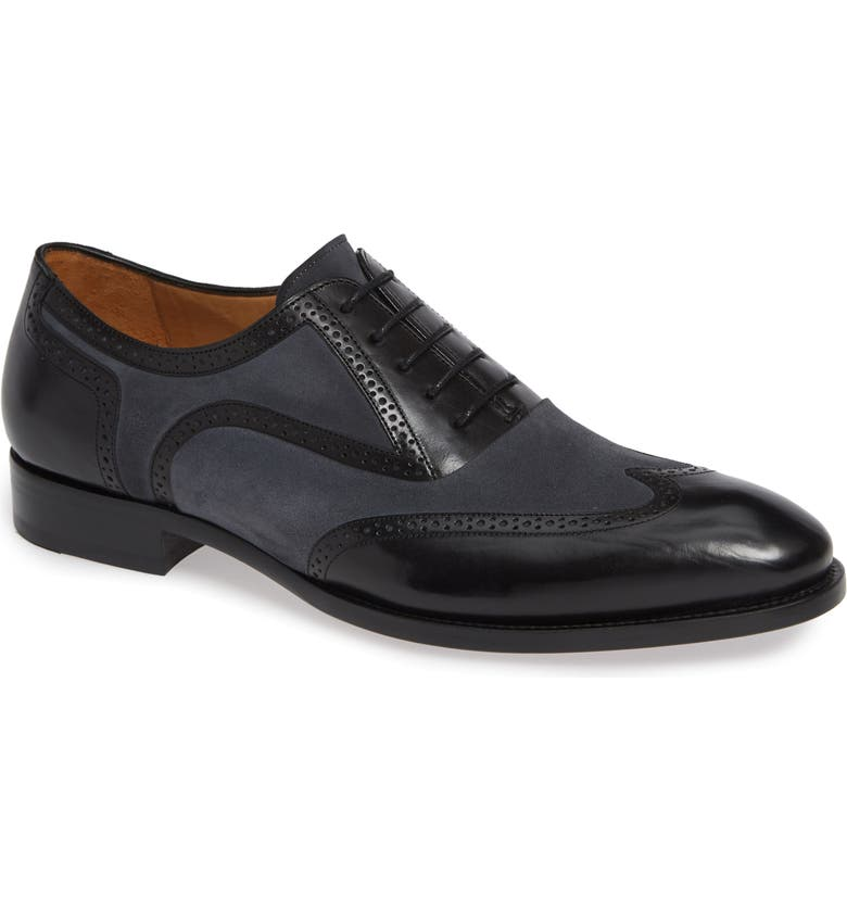 MEZLAN Cantone Wing Tip Lace-Up Oxford, Main, color, BLACK/ GREY LEATHER/ SUEDE