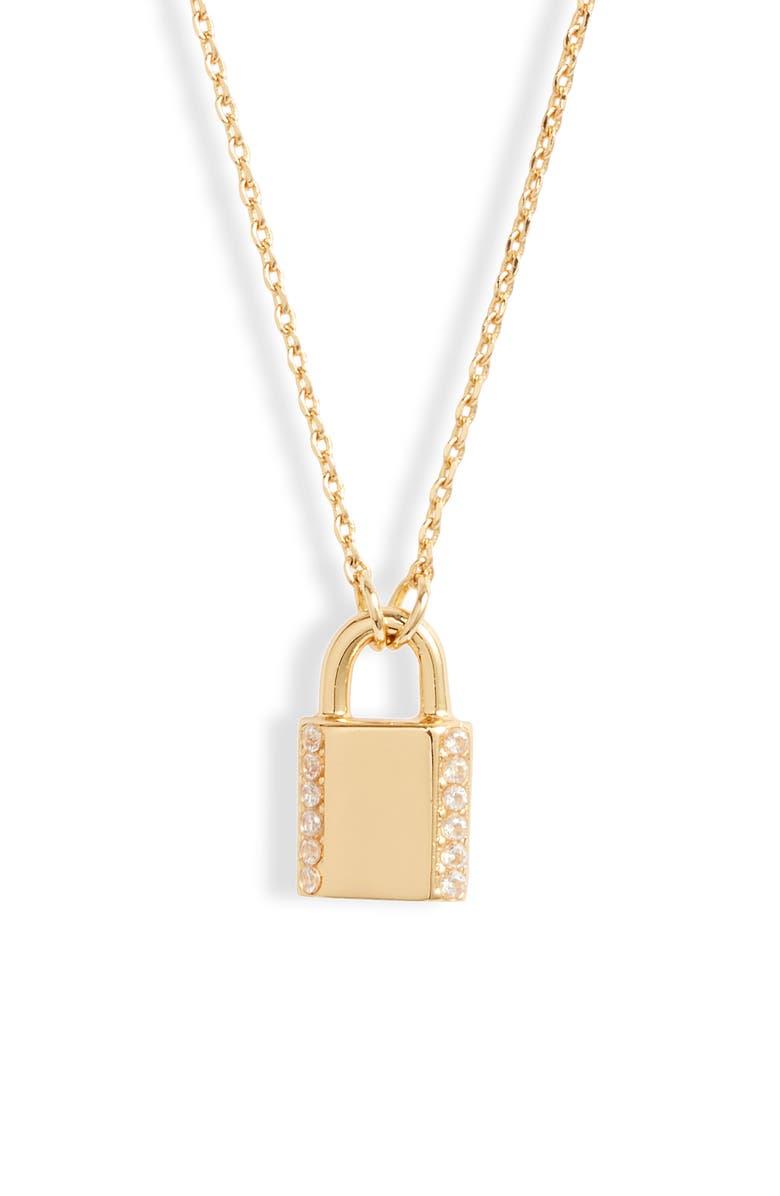 KATE SPADE NEW YORK pavé lock mini pendant necklace, Main, color, CLEAR/ GOLD