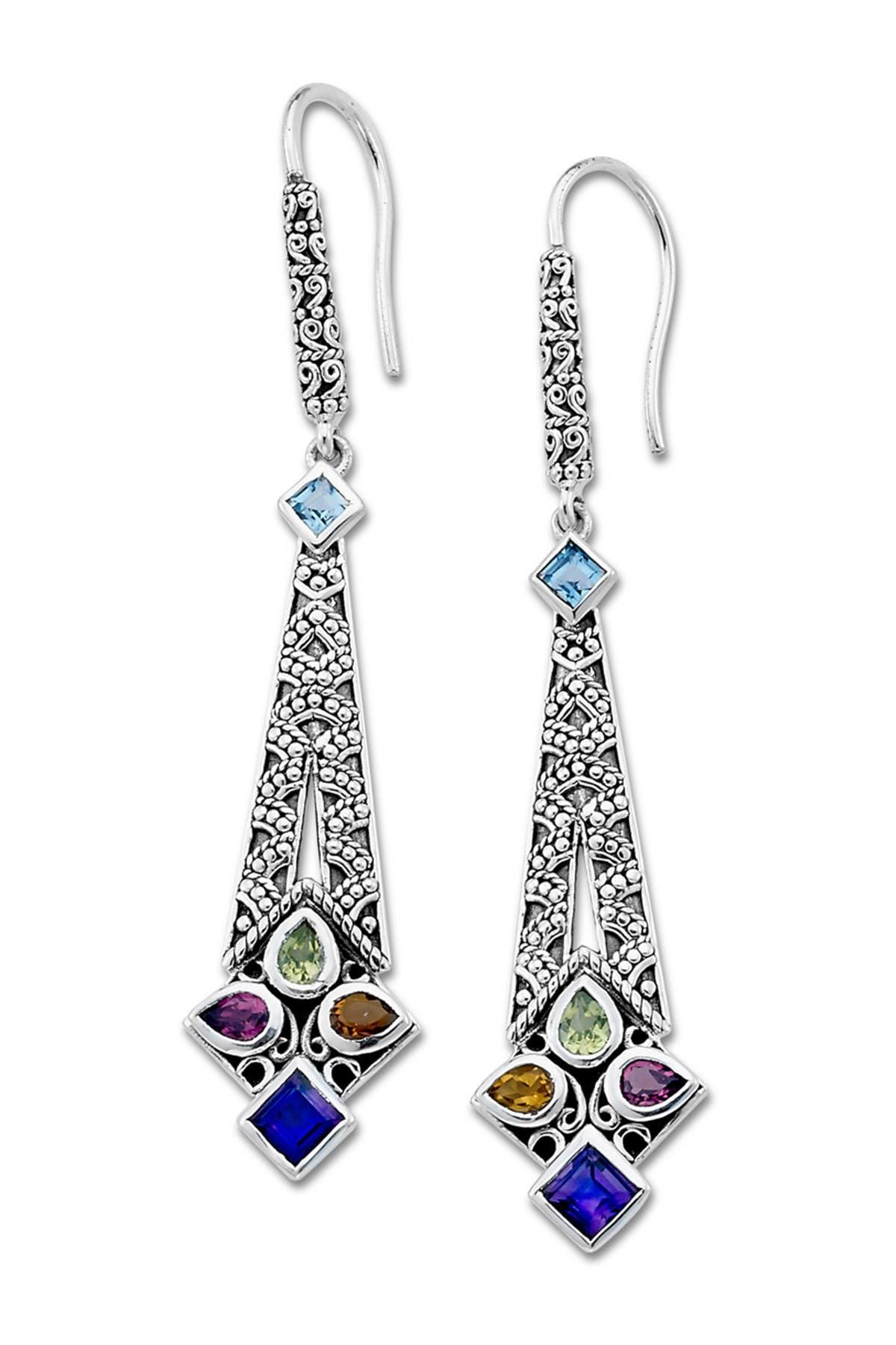 Image of Samuel B Jewelry Sterling Silver Multi Gemstone Earrings
