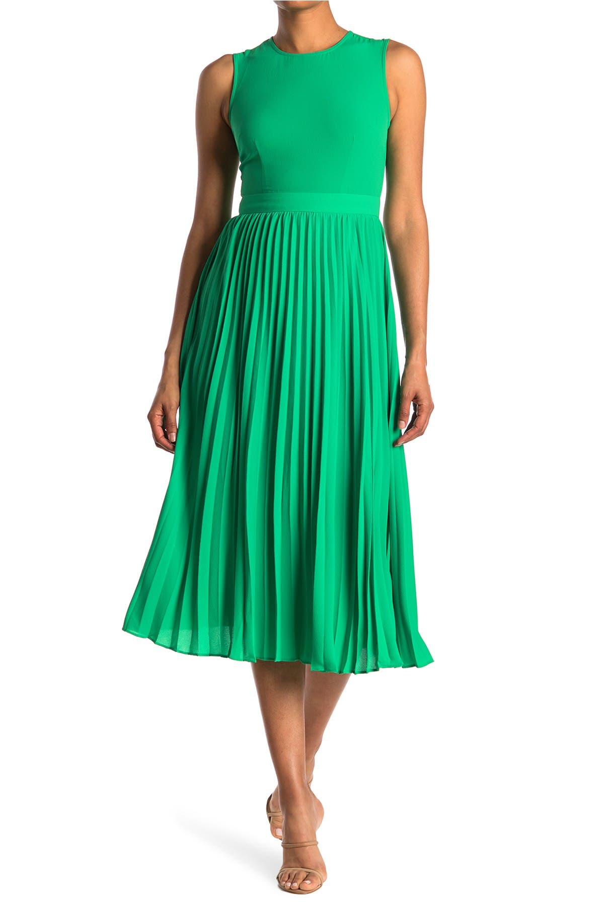 Image of Donna Morgan Sleeveless Pleated Midi Dress