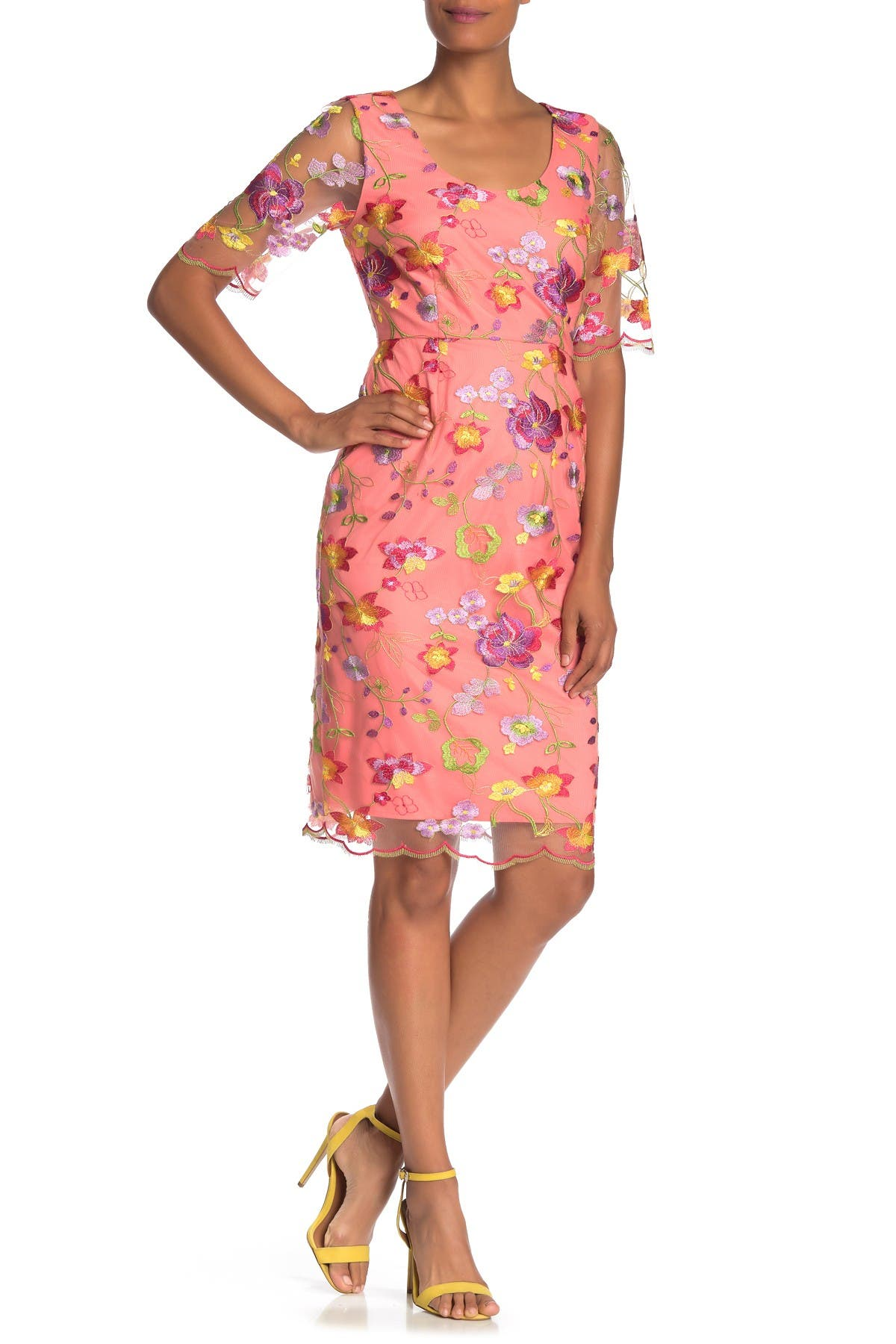 Image of trina Trina Turk Romance Floral Embroidered Sheath Dress