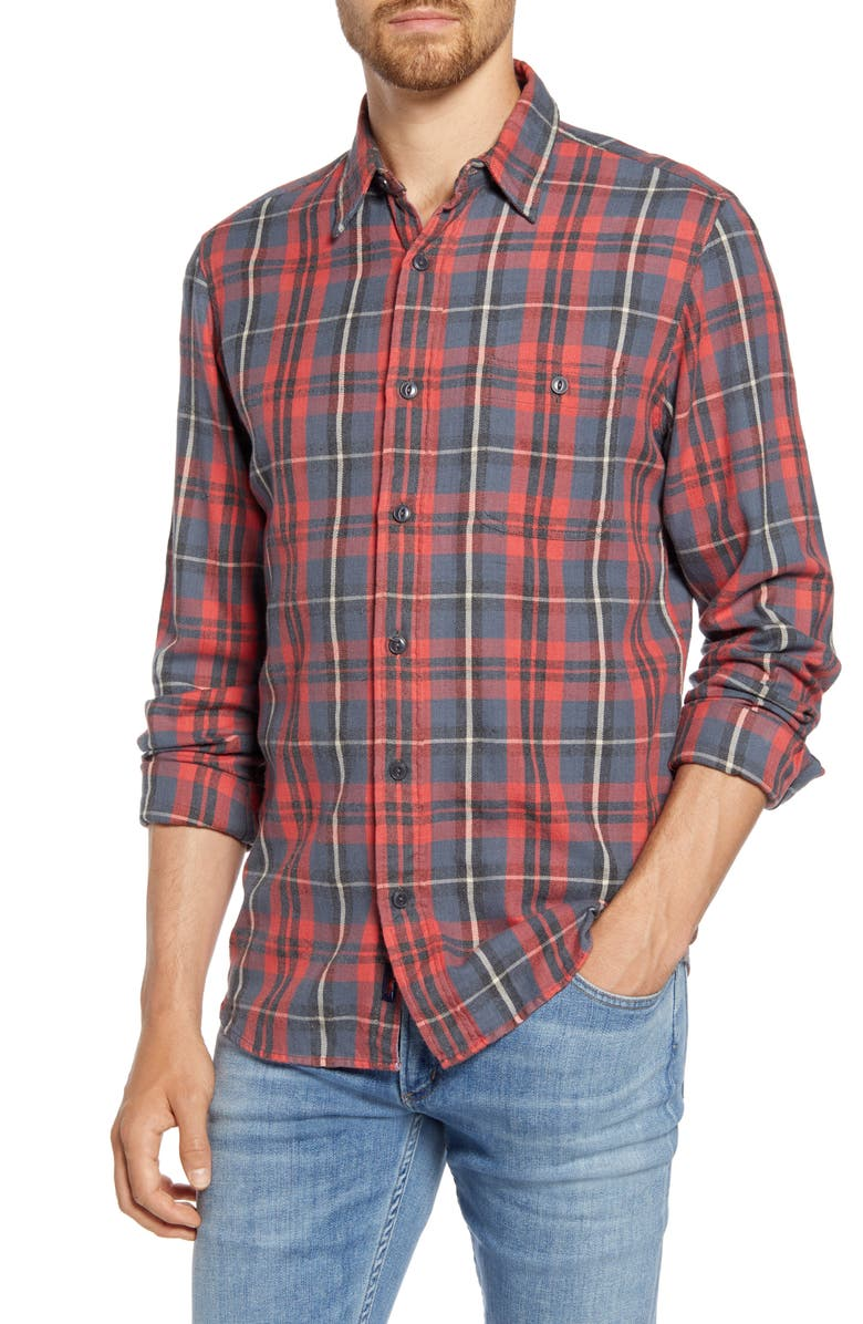 FAHERTY Stretch Seaview Regular Fit Plaid Flannel Button-Up Shirt, Main, color, RED CHARCOAL GREY