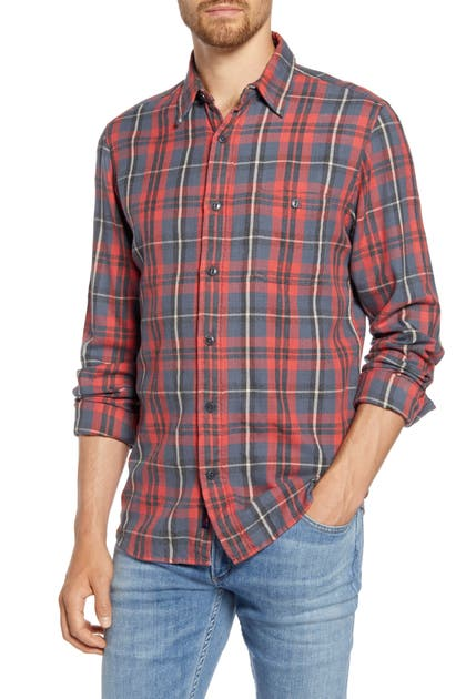 Faherty T-shirts STRETCH SEAVIEW REGULAR FIT PLAID FLANNEL BUTTON-UP SHIRT