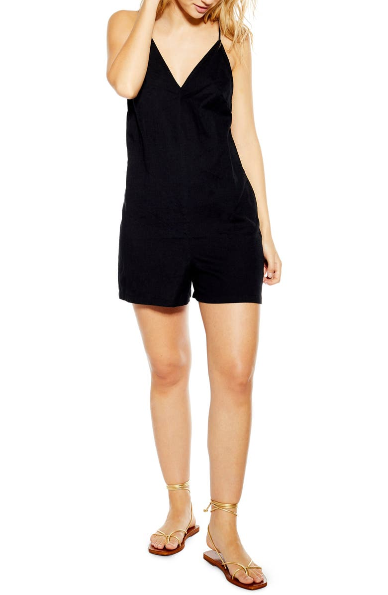 TOPSHOP Strappy Sleeveless Playsuit, Main, color, 001