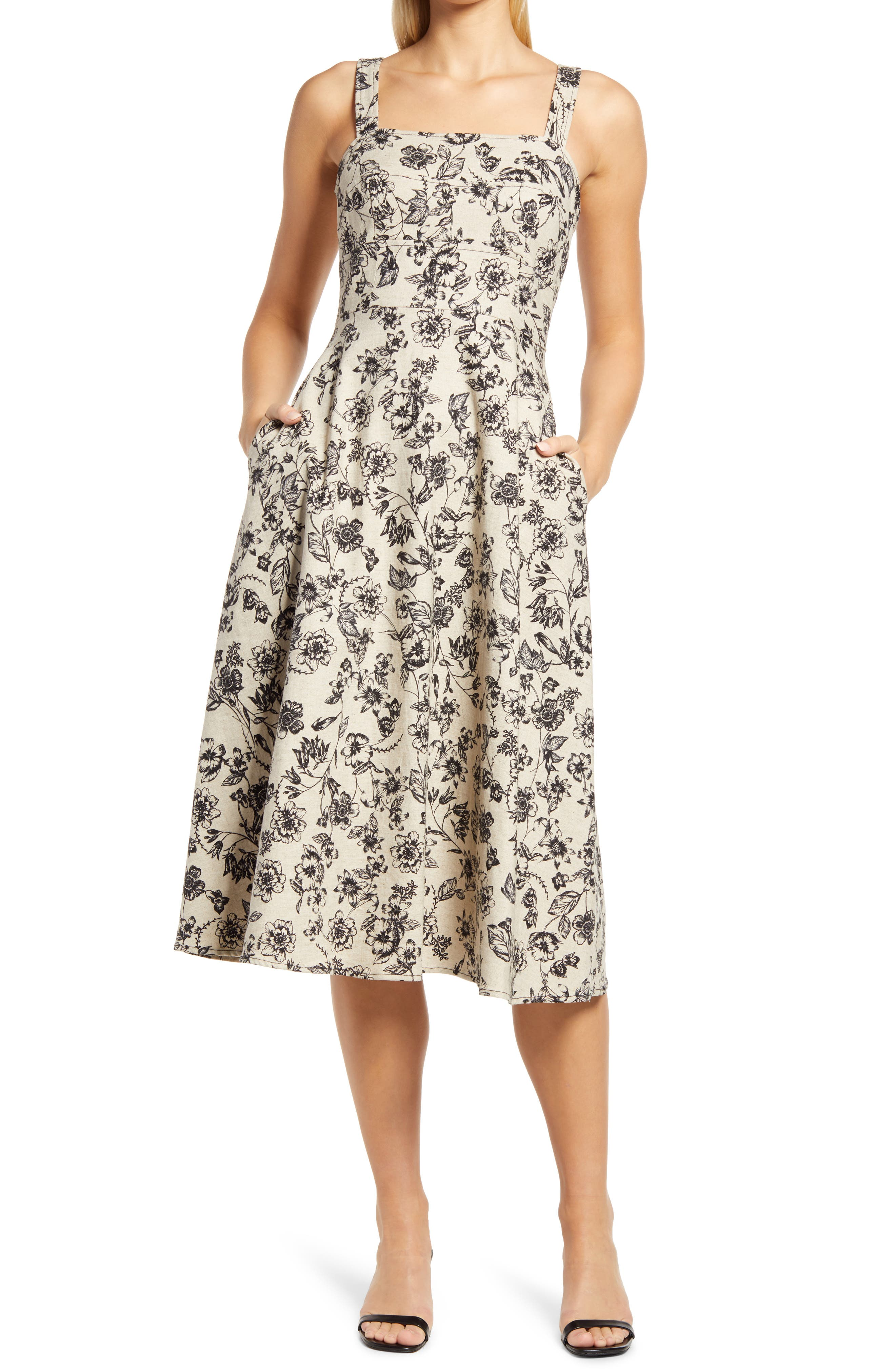 Floral Linen Blend Fit & Flare Midi Dress