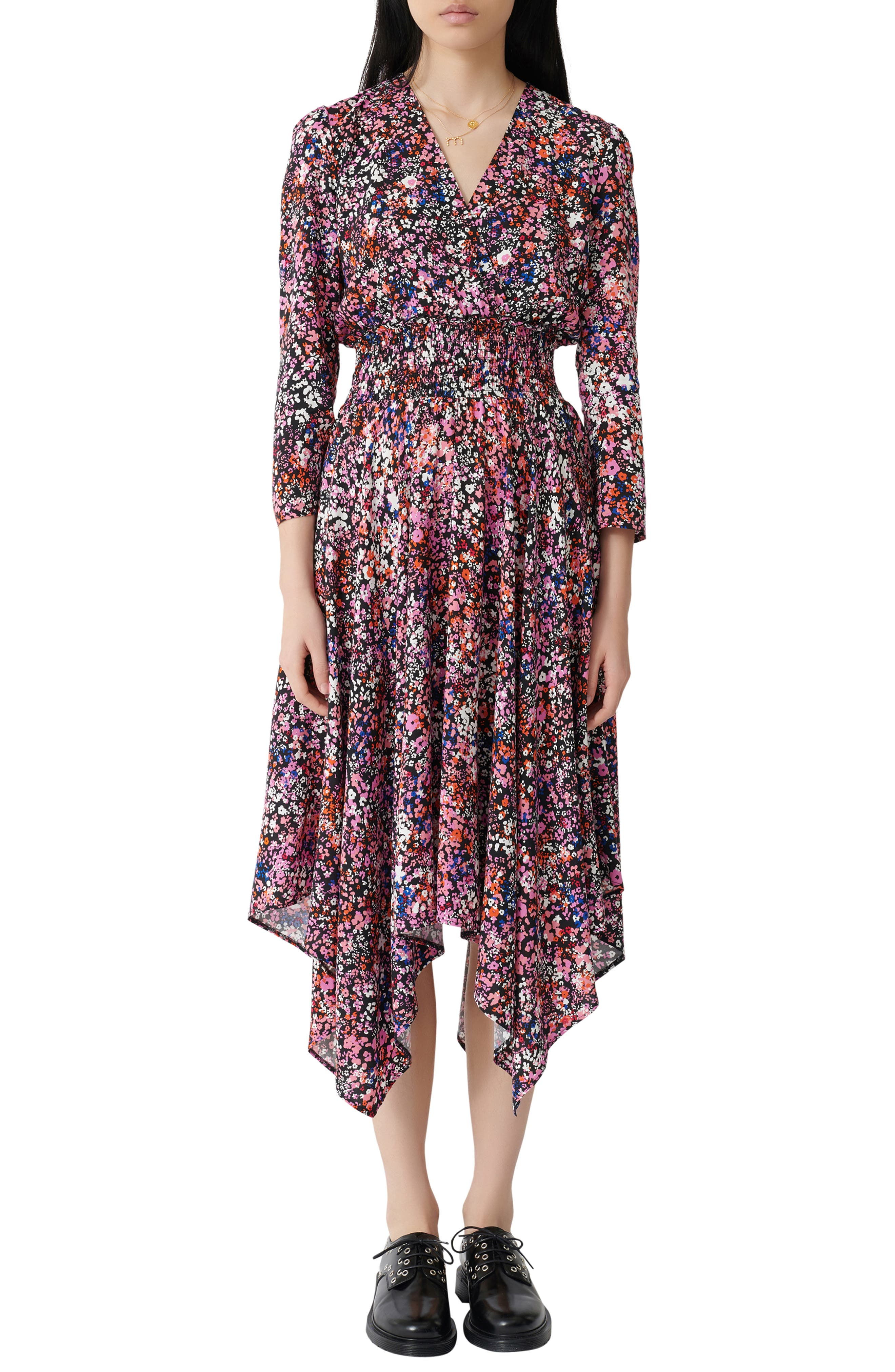 Charm all day long in this fanciful floral-print midi styled with a wrapped bodice, smocked waist and a handkerchief hem. Style Name: Maje Floral Print Midi Dress. Style Number: 6016980. Available in stores.