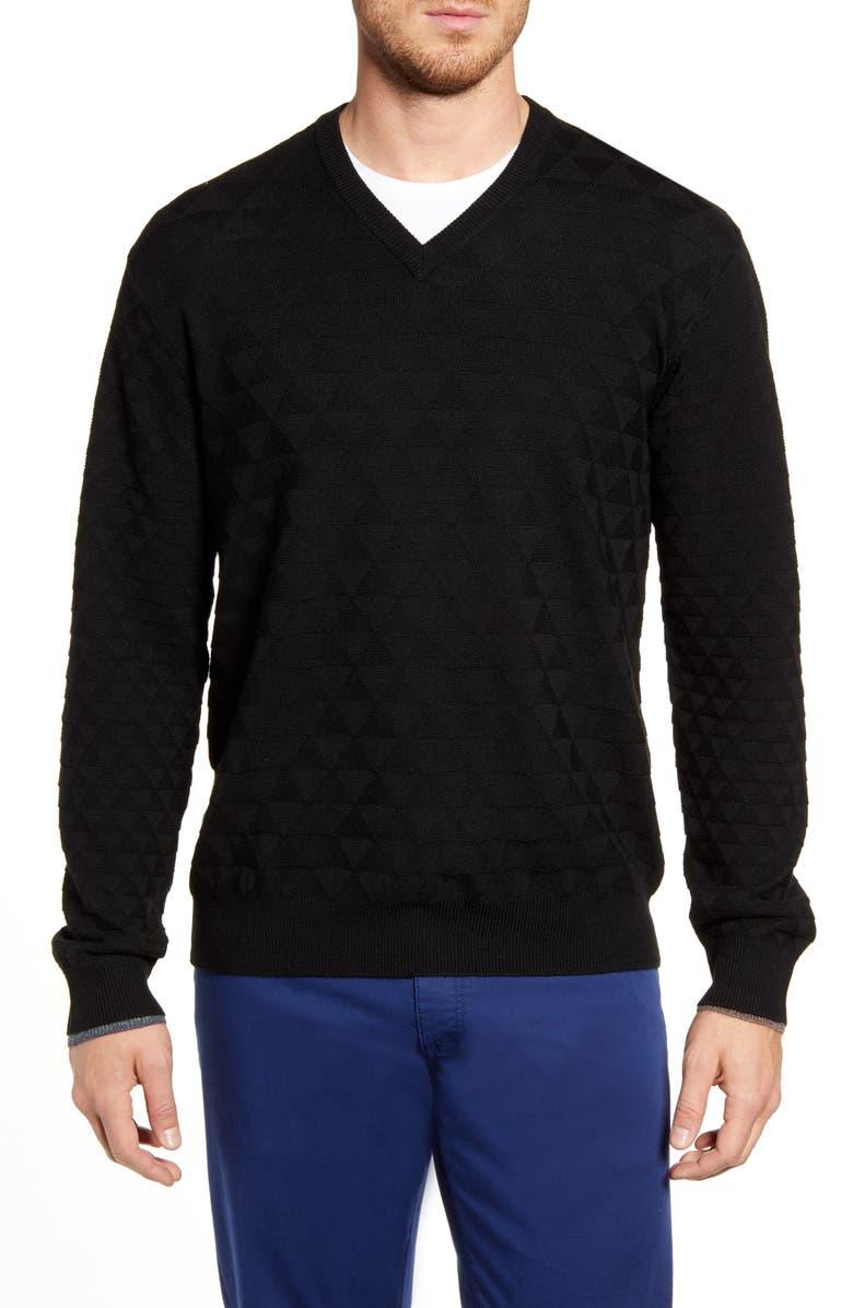 ROBERT GRAHAM Randie Regular Fit Jacquard V-Neck Sweater, Main, color, BLACK