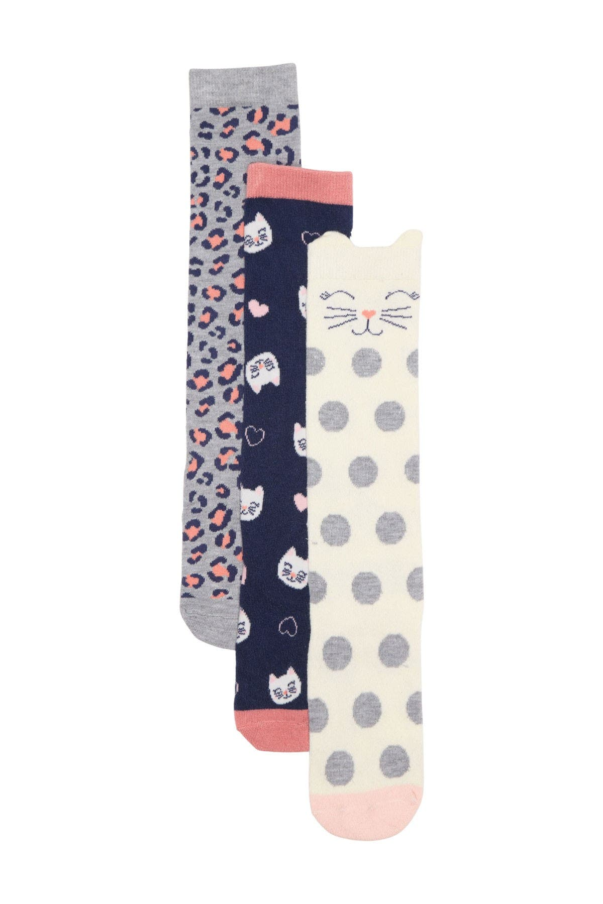 Image of Harper Canyon Kitty Leopard Knee High Socks - Pack of 3