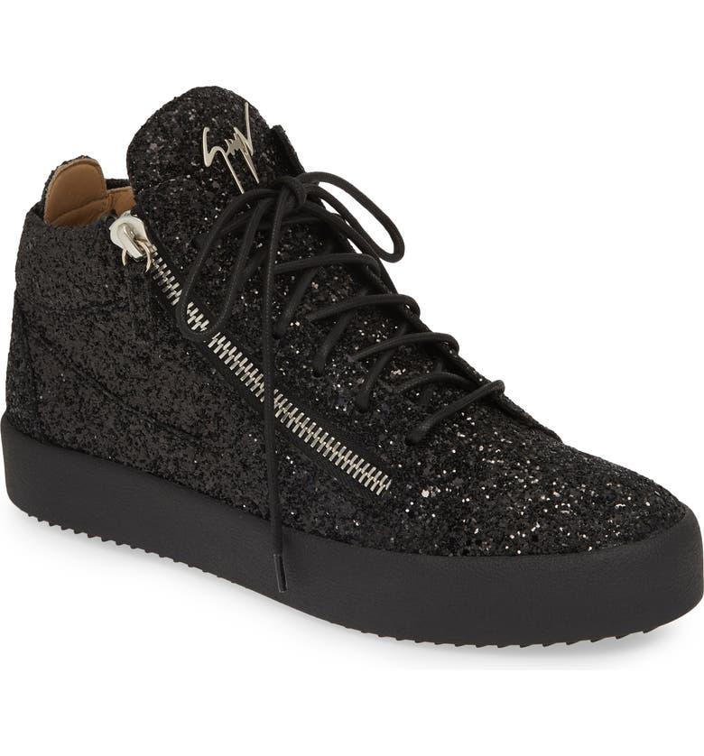 GIUSEPPE ZANOTTI Glitter Mid Top Sneaker, Main, color, NERO
