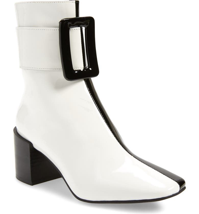 JEFFREY CAMPBELL Godard Colorblock Buckle Boot, Main, color, BLACK/ WHITE PATENT LEATHER