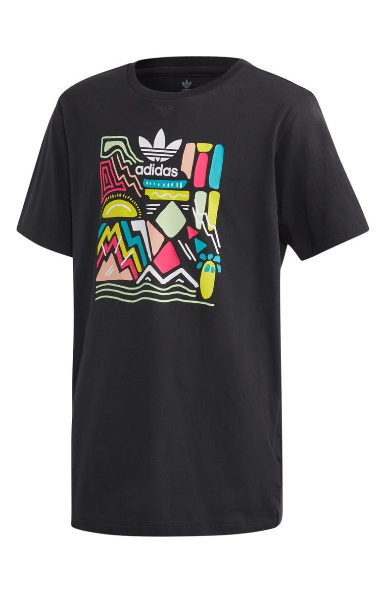 ADIDAS Logo Graphic Boyfriend Tee, Main, color, BLACK/ MULTCO