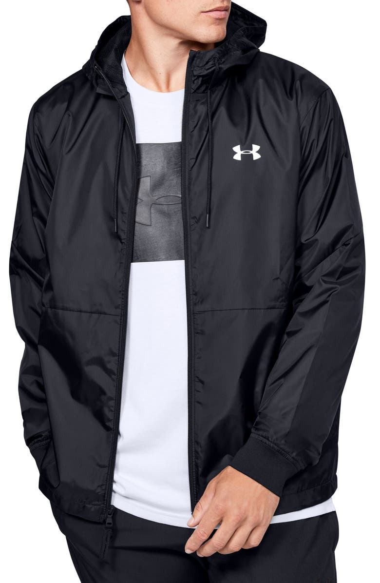 UNDER ARMOUR UA Legacy Water Repellent Hooded Windbreaker, Main, color, 001