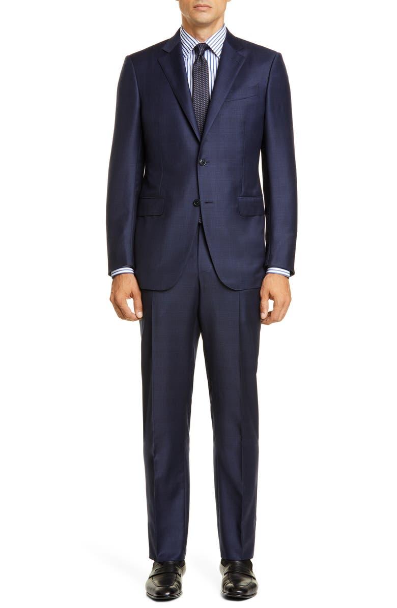 ERMENEGILDO ZEGNA Milano Troffeo Classic Fit Plaid Wool Suit, Main, color, NAVY