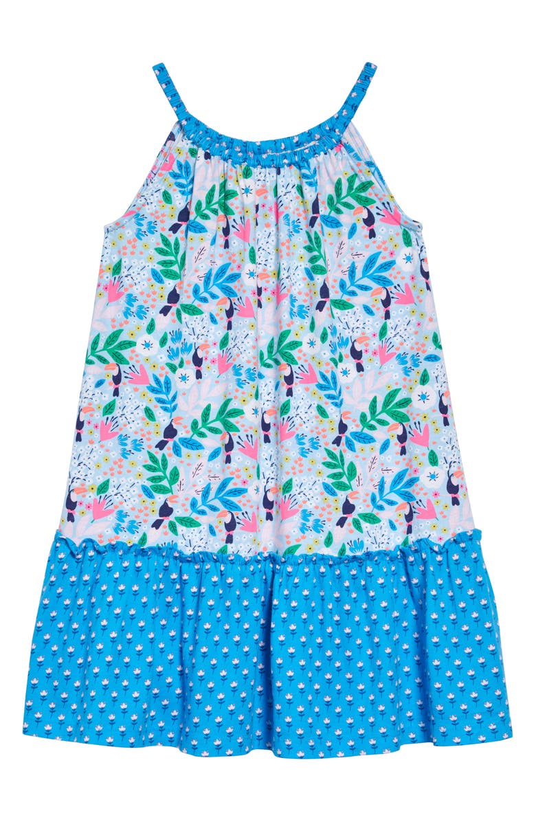 MINI BODEN Hopscotch Halter Dress, Main, color, BLUE QUARTZ TOUCAN GARDEN