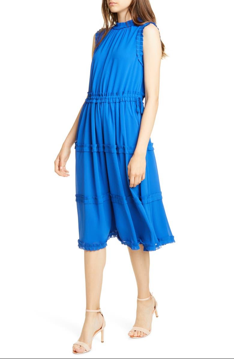 TED BAKER LONDON Sinita Frill Detail Sleeveless Dress, Main, color, BLUE