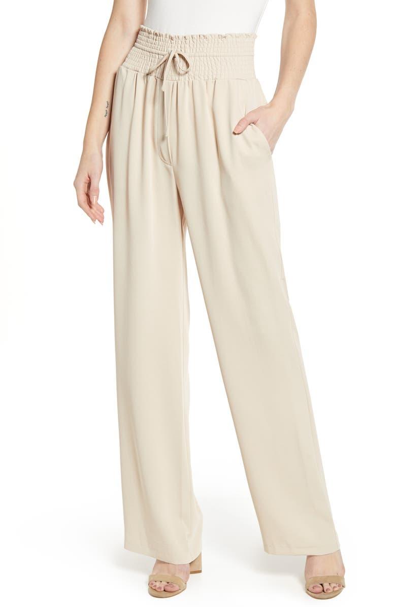 WAYF Jenner Smock Waist Drawstring Pants, Main, color, SAND
