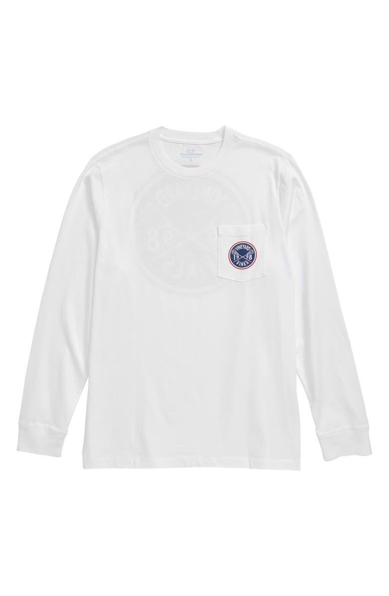 VINEYARD VINES Lacrosse Crest Long Sleeve Pocket T-Shirt, Main, color, 100