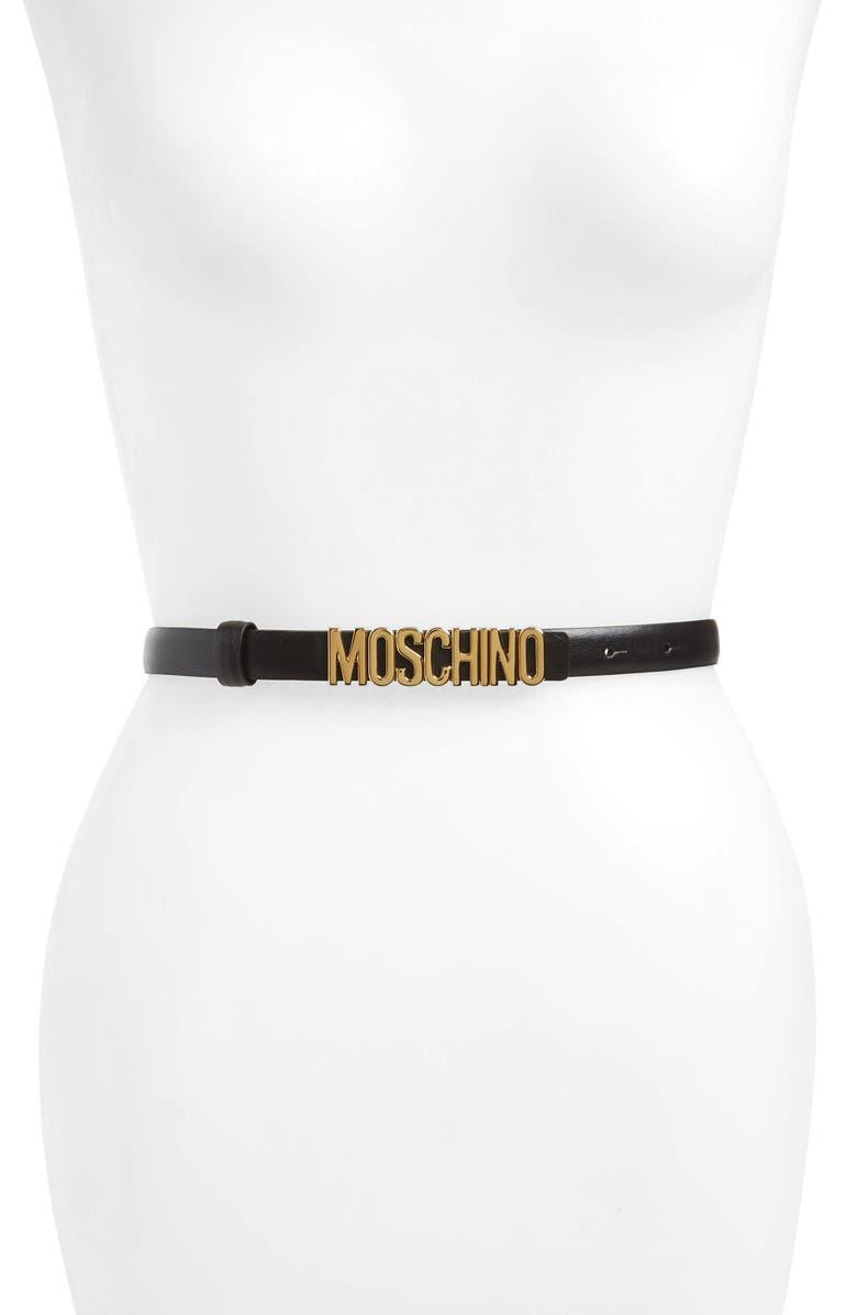 MOSCHINO Logo Calfskin Leather Skinny Belt, Main, color, 001