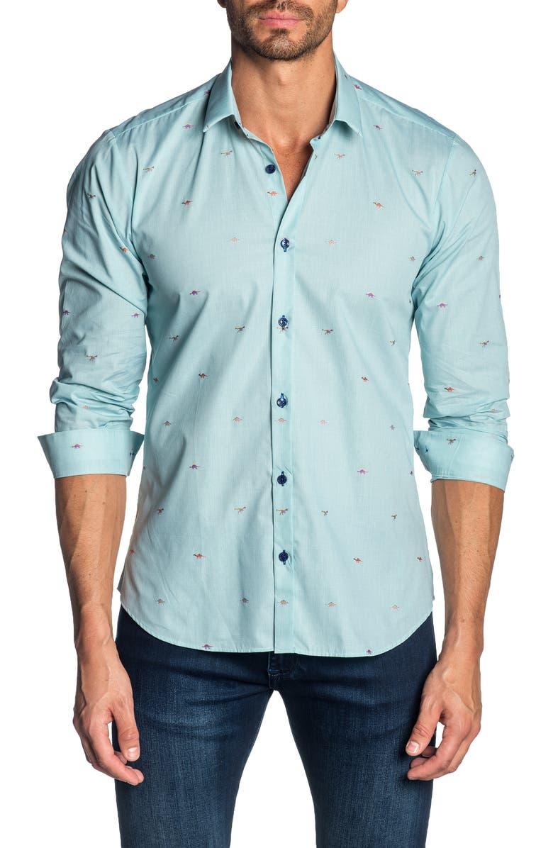 JARED LANG Slim Fit Shirt, Main, color, MINT DINOSAURS