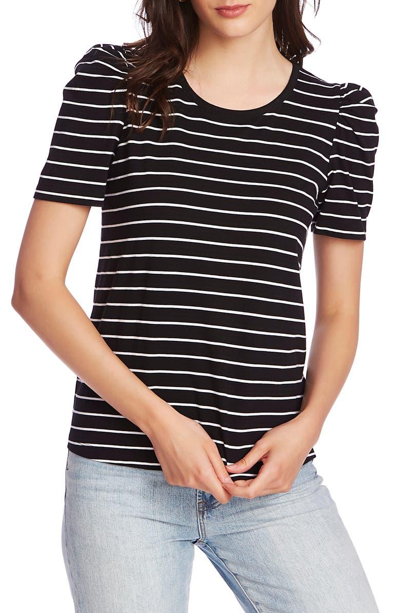 COURT & ROWE Stripe Puff Sleeve Tee, Main, color, RICH BLACK