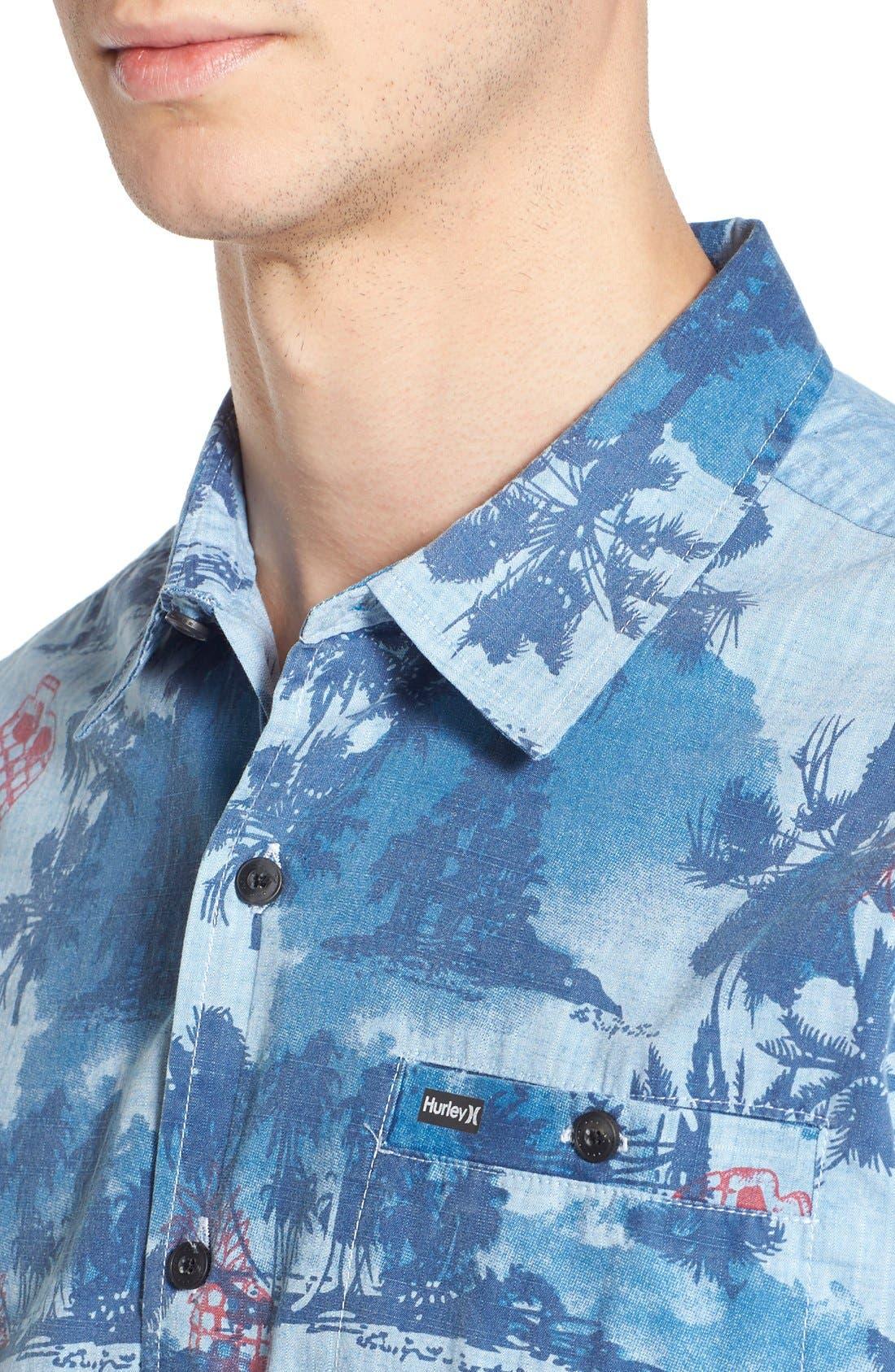 ,                             'Capitola' Dri-FIT Print Woven Shirt,                             Alternate thumbnail 4, color,                             411
