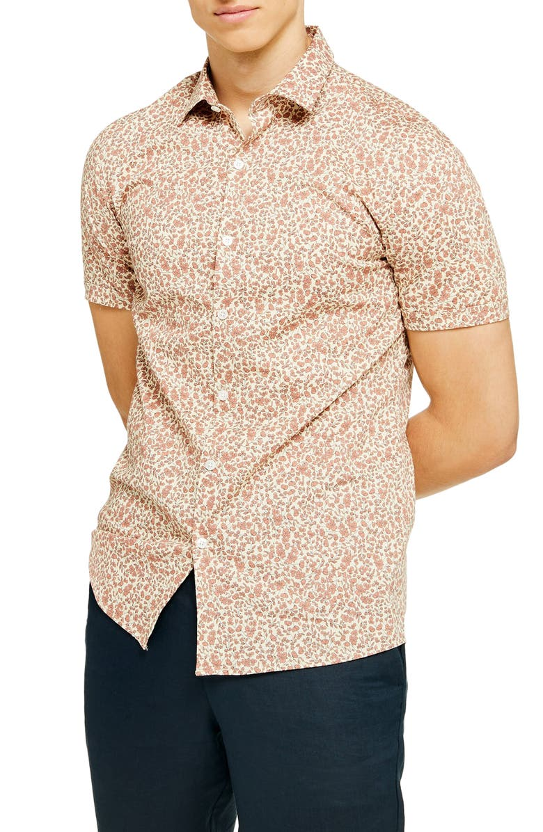 TOPMAN Ditsy Floral Stretch Button-Up Shirt, Main, color, RED MULTI