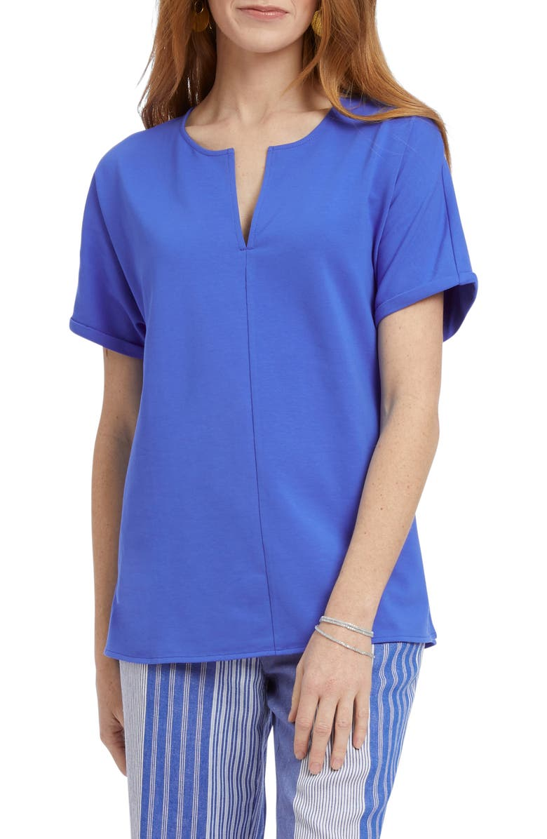 NIC+ZOE Sunday Stroll Stretch Cotton Top, Main, color, WASHED BRIGHT COBALT