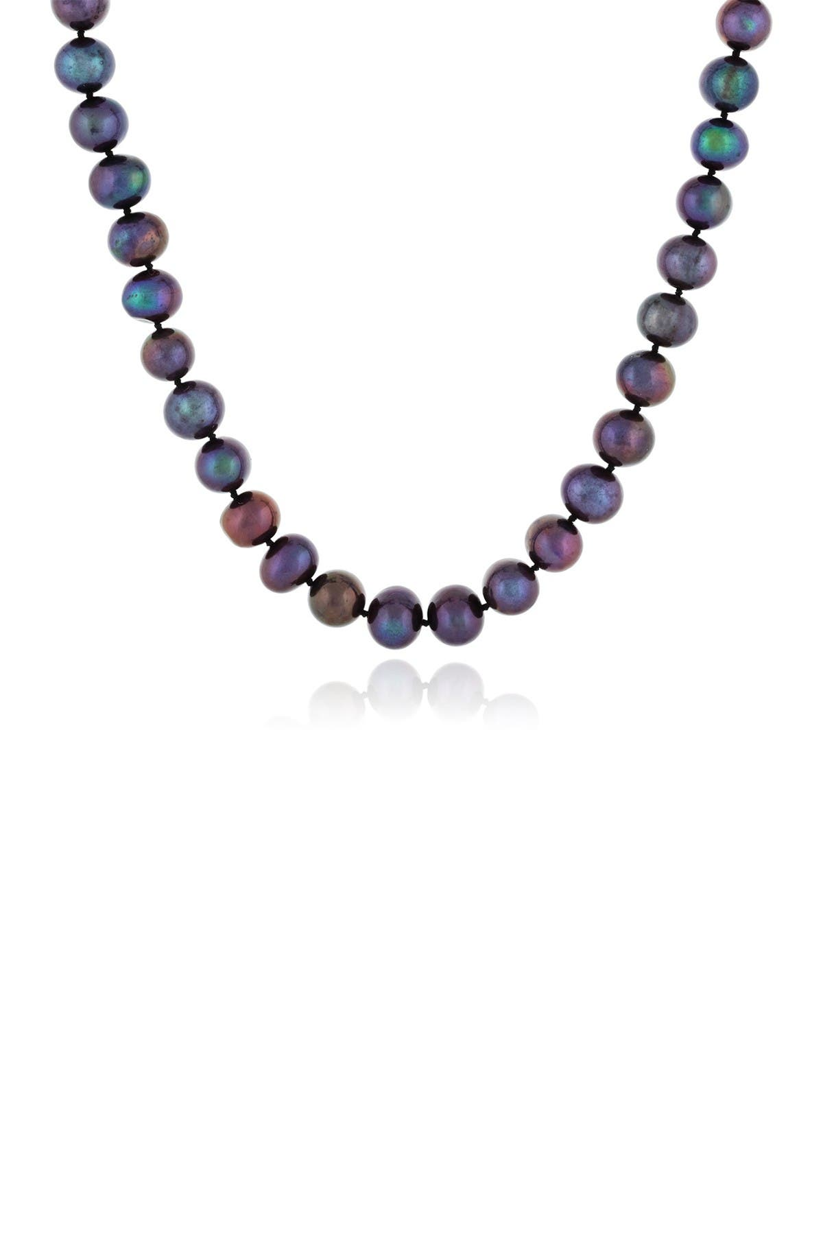 Image of Splendid Pearls 14K Yellow Gold 9-10mm Black Freshwater Pearl Necklace
