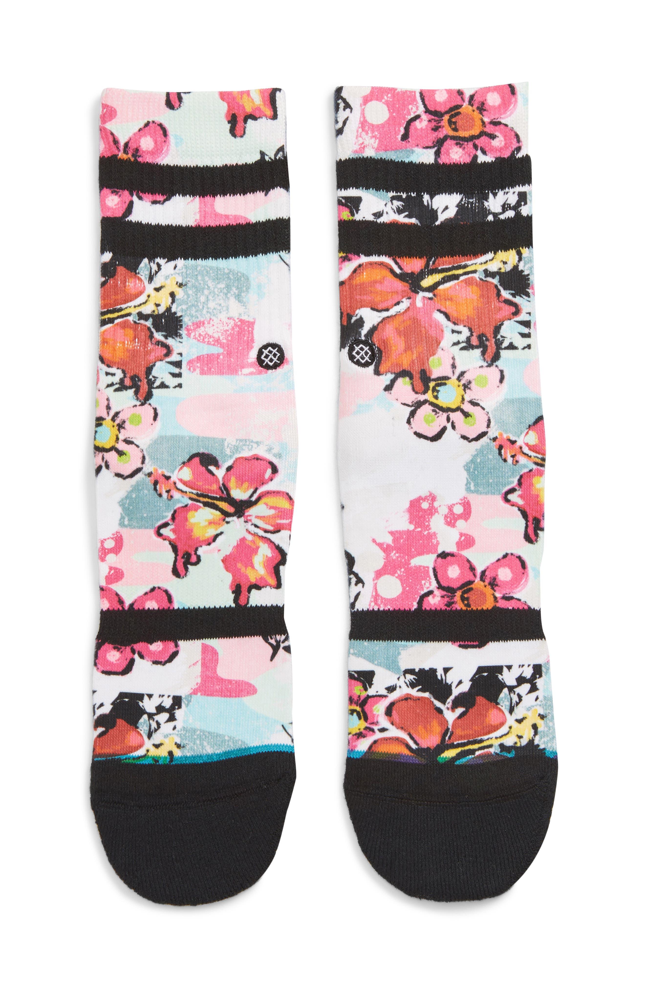 Spot Floral Crew Socks, Main, color, BLACK CAMO