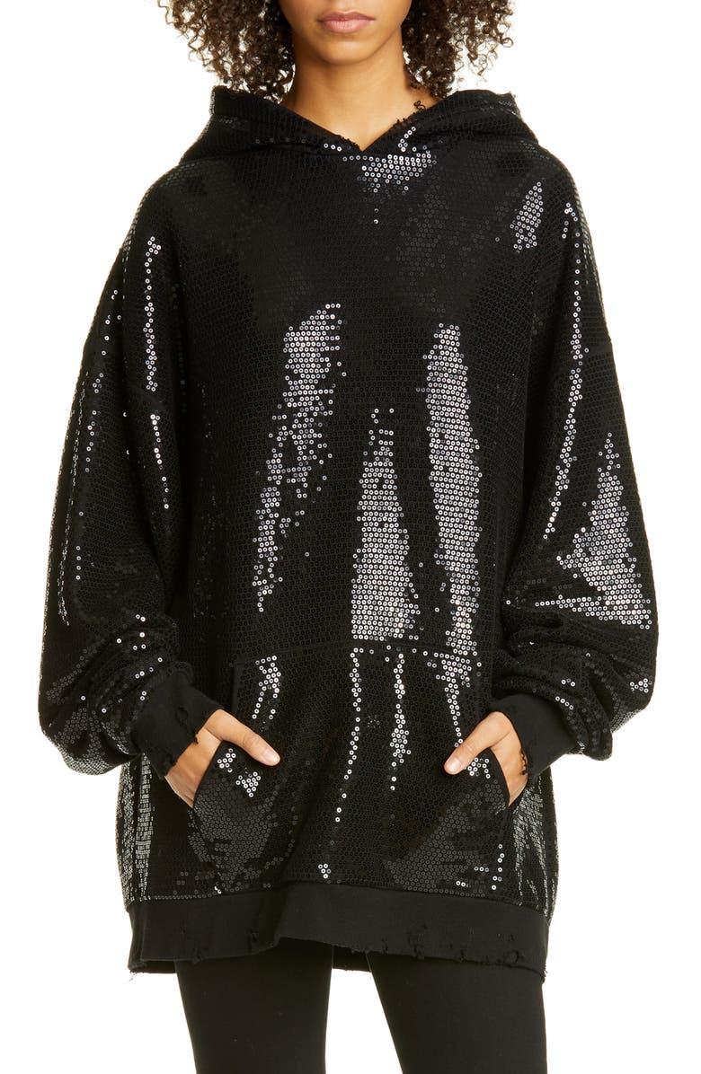 R13 Sequin Hoodie, Main, color, BLACK SEQUIN