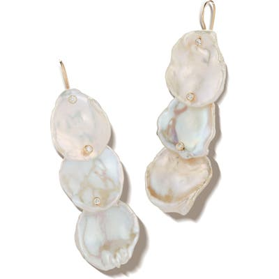 Mizuki 3-Tier Flat Pearl & Diamond Drop Earrings