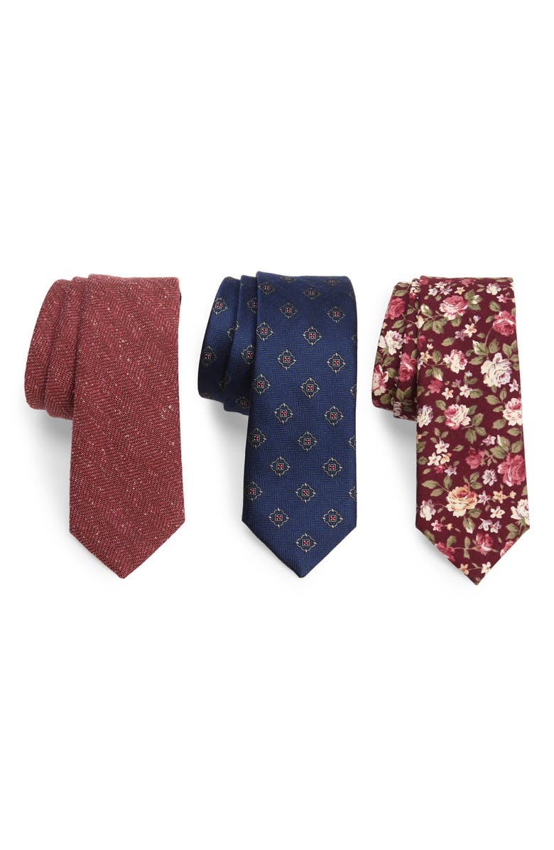 THE TIE BAR Set Of Three Ties, Main, color, BURGUNDY