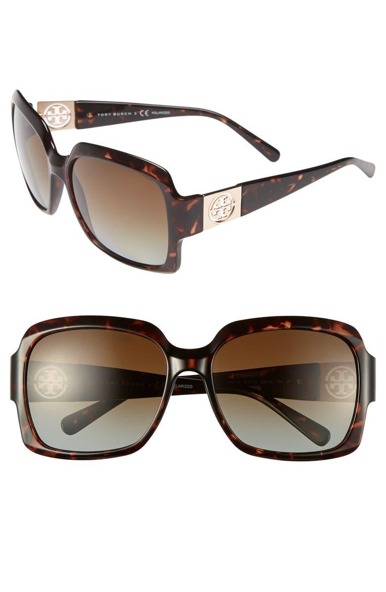 TORY BURCH 59mm Polarized Sunglasses, Main, color, 201